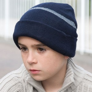 RESULT JUNIOR THINSULATE™ WOOLLY HAT WITH REFLECTIVE WOVEN BAND