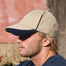 Result Headwear Brushed Cotton Cap With Scallop Peak And Contrast Trim